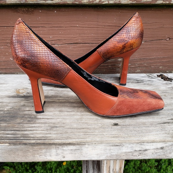 74980c86f9f Goodee 2 Shoes Shoes - Burnt Orange Reptile Print Rectangle Toe Heels